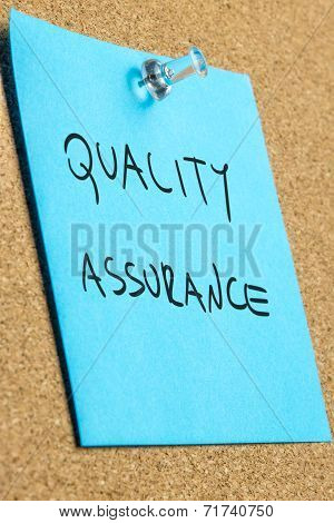Quality And Assurance Written On Blue Note