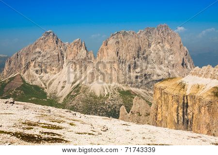 Summer View Of Sass Pordoi Mount And Fassa Valley, Italian Dolimites