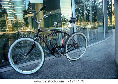 Redwood City, Ca, Usa - Sept 24, 2008: Bycicle For Employee Moving Inside Oracle Campus Located In R