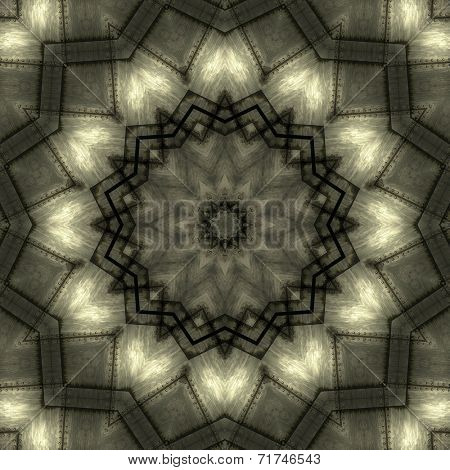 Old metallic, artistic and detailed kaleidoscope illustration