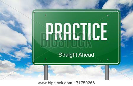 Practice on Green Highway Signpost.