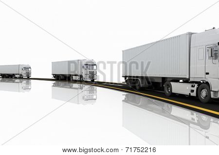 White Trucks on freeway. 3d render illustration. Concept of logistics, delivery and transporting by freight motor transport.  poster