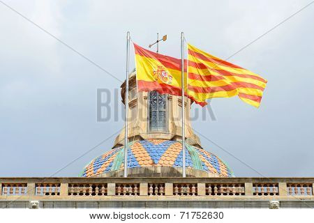 Flag of Spain and Catalonia, Barcelona, Spain