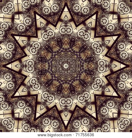 Stylish steampunk kaleidoscope with gears and other details poster