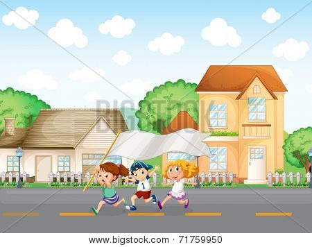 Illustration of the kids outside the big houses with an empty banner