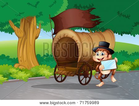 Illustration of a monkey at the street standing beside the wagon with an empty signboard