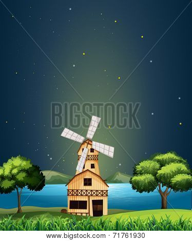 Illustration of a wooden barnhouse at the river with a windmill poster