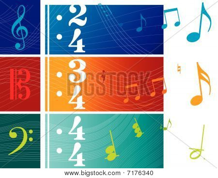 Vector Illustrations of Clef Based Banners (F C and G Clefs) poster