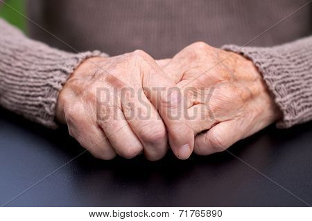 Picture of a wrinkled and elderly hand poster
