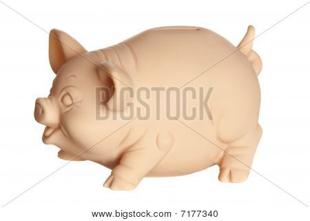 Profile of piggy bank isolated on white background poster