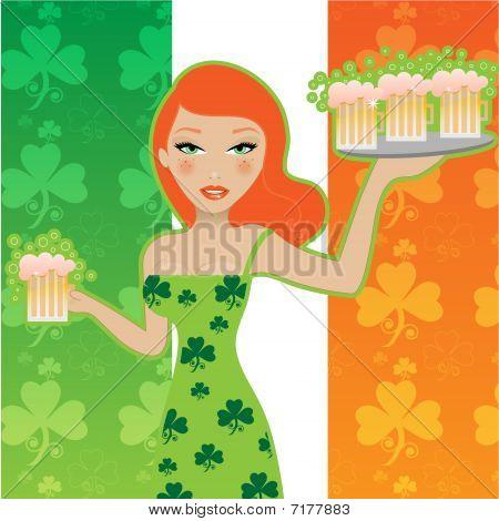 Cute Irish girl serving beer