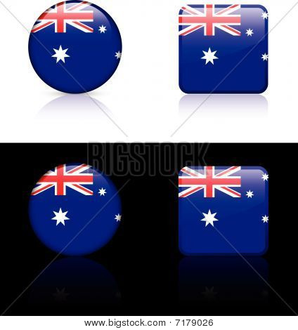 Australian Flag Buttons On White And Black Background