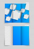 Tri-fold brochure template design with blue cut out squares poster