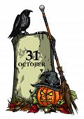 Illustration Halloween Symbols Pumpkin Jack-o-lantern, Tomb, Raven, Witches Hat and Broom, on the fallen leaves, vector graphic poster