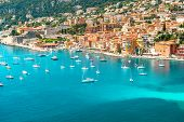 View of luxury resort Villefranche-sur-Mer Cote d'Azur french reviera Provence near Nice and Monaco poster