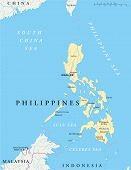 Philippines Political Map with capital Manila, national borders, most important cities, rivers and lakes. English labeling and scaling. Illustration. poster