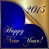 Vector illustration of 2015 new year gold and dark blue greeting with curled corner poster