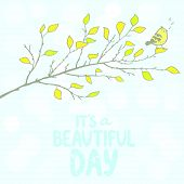 beautiful tree branch with cute bird sings a song poster