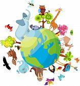 vector illustration of a animal planet with design elements poster