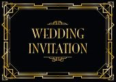 an art deco style invitation card black and gold card poster