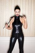 Sexy woman in latex catsuit bite whip bdsm poster