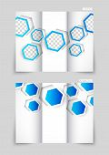 Tri-fold brochure template design with blue hexagons poster