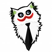 Funny cartoon Cat-Joker with a black outline poster