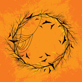 Vector Halloween wreath orange background