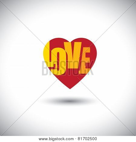 Human Heart Icon And Love Words Inside It - Simple Vector Graphic
