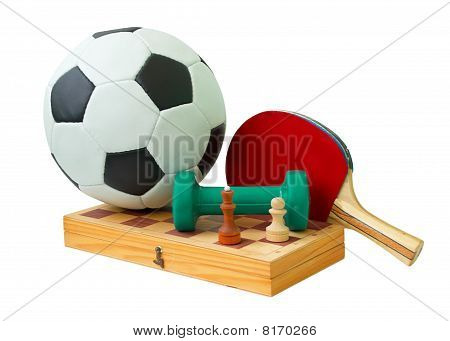 Football, Chess Board, Dumbbell And Racket