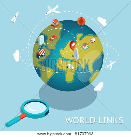 World Links. Global communication air and car connection. Vector illustration poster