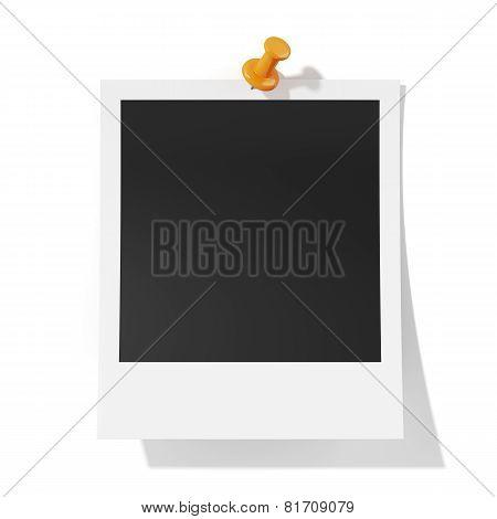 Photoframe With Orange Pushpin Isolatd On White Background