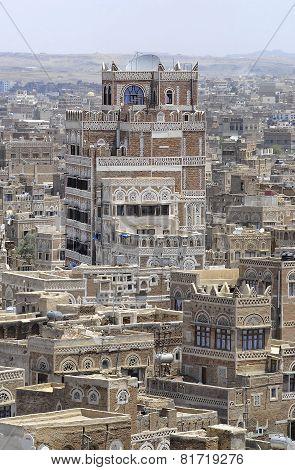 Exterior of the traditional buildings of Sanaa city, Sanaa, Yemen.