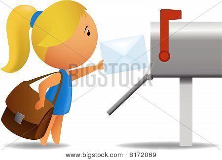 Girl postman delivering letter