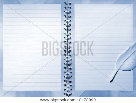 Ball point ink pen over a ruled notebook paper sheet poster