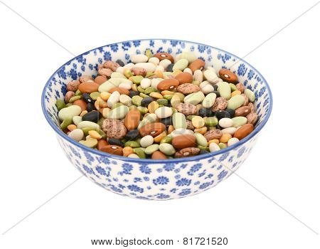 Mixed Dried Beans In A Blue And White China Bowl