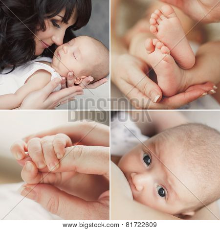 Collage of a newborn baby in mother's arms.