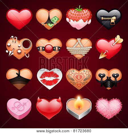 Set of Vector Sex Hearts Icons