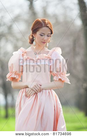 Beautiful Women In Dress On A Spring Outdoor.