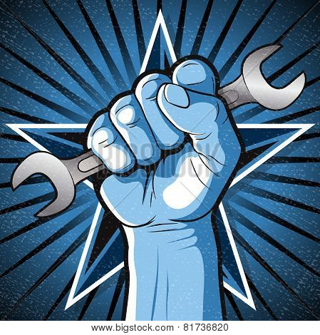 Revolutionary Punching Fist And Spanner Sign.