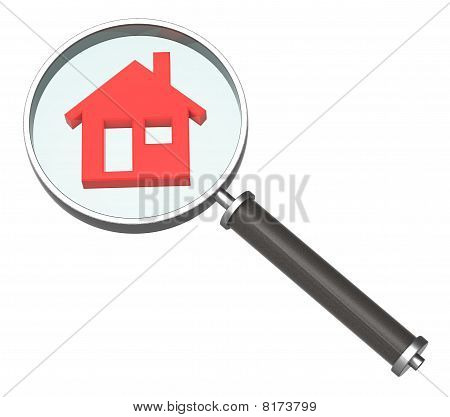 Magnifier with home icon isolated on white.