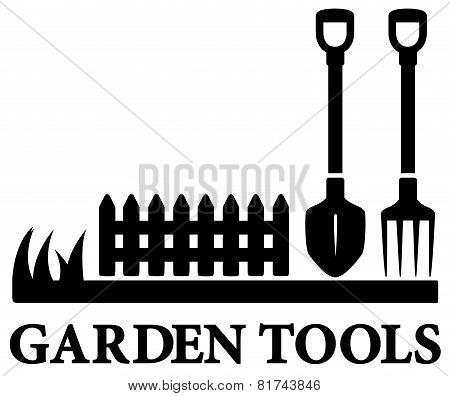 black gardening symbol with tools