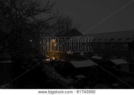 Snow over Residential Area