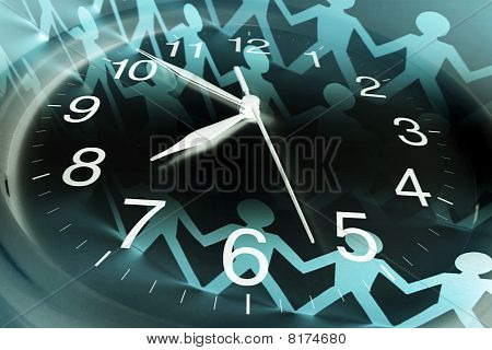 Clock And Paper Chain Dolls