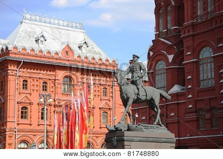 Monument of Soviet General Georgy Zhukov on Manege Square in Moscow, Russia poster