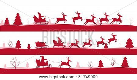 Merry Christmas Landscapes, Set Of Red Festive Backgrounds With Santa And Reindeer