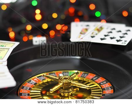 Casino Roulette, Dice And Playing Cards.