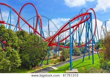 Roller Coaster in funny amusement  park.