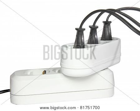Plugs In Electric Socket. Isolated