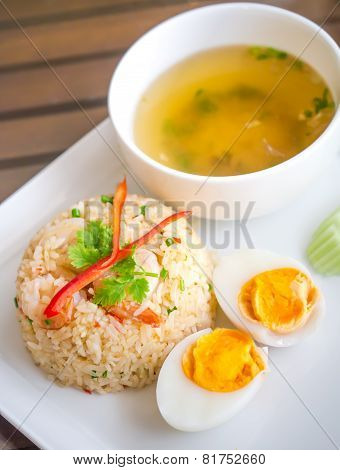 Fried Rice With Shrimp And Boiled Egg